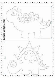 Dinosaurios de fieltro hechos con moldes - Ideas de Manualidades