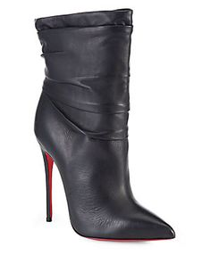 My birthday wish!!! Christian Louboutin Ishtar Ruched Leather Ankle Boots