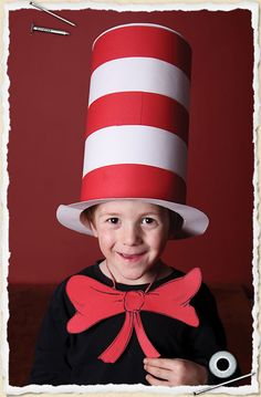 My 5yr old son wearing a 'pop-up' Cat In The Hat costume for school dress-up day