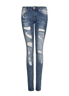 MANGO - Jeans slim rotos decorativos