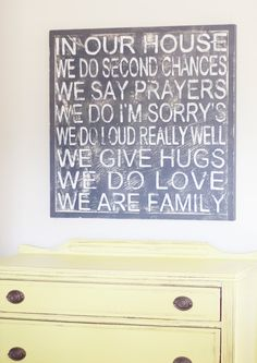Loooovvve. IN OUR HOUSE family sign. $60.00, via Etsy.