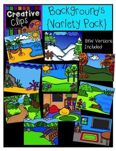 This 20-image set is the perfect companion to any of my other clipart sets! This Creative Clips Backgrounds Variety Pack gives you a wide range of page background scenes that you can layer other images on!Included are 10 vibrant, colored backgrounds and 10 black and white versions. Page Background, Background Clipart, Creative Background, Spring Scene, Summer Scenes, Winter Scenes, Reading Corner Classroom, Shoebox Ideas, Classroom Clipart