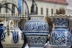 Traditional Rustic Pottery From Romania Stock Photo - Image of motive, craft: 10831882 China Painting, Ceramic Painting, Romanian Girls, Old Pottery, Kids Study, Mediterranean Decor, Traditional House, Amazing Art, Blue And White