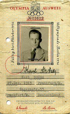 Teilnehmerausweis für den Hockeyspieler Karl Dröse für die Olympischen Spiele. Berlin, 1936. o.p.