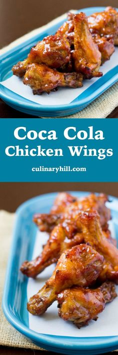 Coca Cola Chicken Wings are fun and easy for your next party! Bake chicken wings… Coca Cola Chicken Wings are fun and easy for your next party! Bake chicken wings until crispy then douse in a sweet and spicy homemade Coca Cola sauce. Cola Chicken Wings Recipe, Baked Chicken Wings, Chicken Wing Recipes, Chiken Wings, Chicken Wing Sauces, Fried Chicken, Sweet And Spicy, Appetizer Recipes, Appetizers