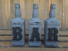 Decorated jack daniels bottles. Bar decor. by WineCraftCreations