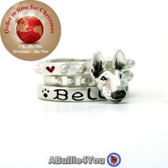 English Bull Terrier Dog Stack Ring.  925 sterling silver (Can be customized to your dogs markings) Ideal Christmas gift by ABullie4You on Etsy https://www.etsy.com/listing/251325381/english-bull-terrier-dog-stack-ring-925