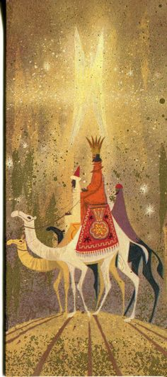 Vintage California Artists Christmas Card: 3 Wisemen