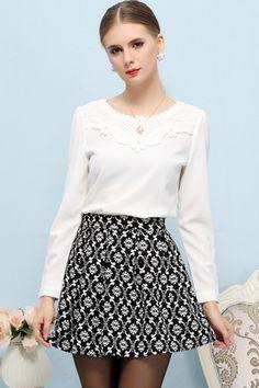 Crocheted Yoke Long Sleeve Chiffon Blouse & a fabulous skirt