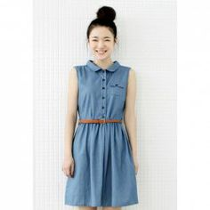 Sleeveless Solid Color Faux Denim Dress