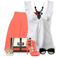 White and Coral Outfit Office Fashion Women, Work Fashion, Fashion Outfits, Womens Fashion, Fashion Trends, Classy Outfits, Stylish Outfits, Cool Outfits, Complete Outfits