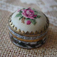 Vintage Petit Point Rose Pill Box
