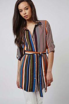 **Multi Stripe Belted Shirt Dress by Rare