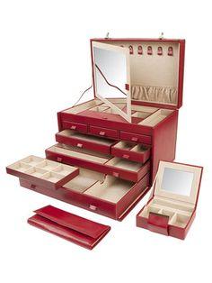 Wolf Designs Inc. Extra Large Red Jewelry Case for my red jewelry! Jewelry Box Store, Jewelry Roll, Jewelry Case, Wolf Jewelry, Red Jewelry, Leather Jewelry, Jewlery, Pandora Jewelry, Storage Boxes