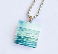 Ocean photography glass tile pendant necklace.
