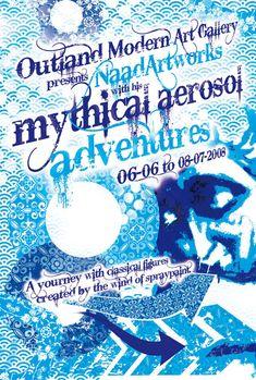 mythical aerosol adventures - an exposition at outland modern art gallery | flyer design