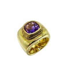 Chunky Amethyst Ring Vintage Gold Plated Sterling Silver Wide