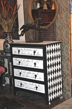 Farmhouse Paints in antique black and cotton white w/ Royal stencil