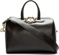 Versace Black Leather Medusa Duffle Bag 42404F061001 Structured grained  leather duffle bag in black. Gold b40670aae3