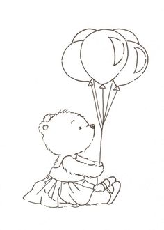 teddy bear in a tutu with balloons