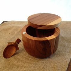 Teak Salt Cellar with Spoon and Pivoting Lid