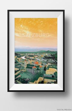 Poster of #Salzburg, #Austria. Click picture for more details! #Etsy.