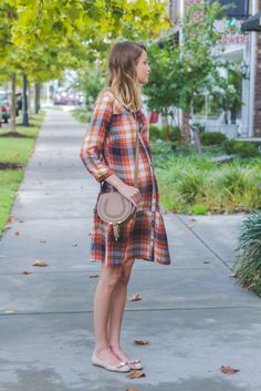 Plaid drop waist dress, Ferragamo flats, Chloe marcie cross body : Maternity Style