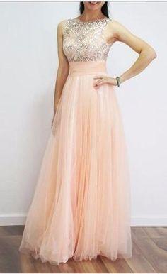 long prom dress, peach prom dress, 2017 prom dress, evening dress, party dress