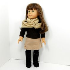 American girl doll clothes 3 piece set skirt, top, infinity scarf. $23.00, via Etsy.