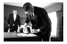 Groomsman helping out the groom with some ironing! Married: MaryBeth & Joe   Winter Wonderland   Oak Ridge Country Club   Feeding Hills, MA