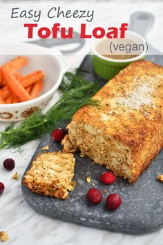 This tofu loaf recipe involves mashing up extra-firm tofu with other simple, natural ingredients in a big bowl, and then flattening the mixture into a loaf pan with olive oil. So easy. Great for the vegan or vegetarian folks at your Thanksgiving or Christmas dinner. Can easily be made gluten-free too. #vegan #tofu #veganchristmas #veganfood #Thanksgiving