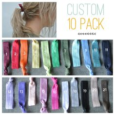 hair tie ponytail holders - custom pack you pick 10 - stretchy no dent no damage fold over elastic ribbon knotted ties. $10.00, via Etsy.