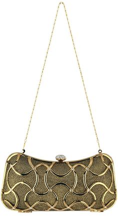 MG Collection Metallic Abstract Woven Rhinestones Evening Baguette Minaudiere.