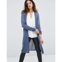 Dip Dye Stripe Longline Cardigans (98 BRL) ❤ liked on Polyvore ...