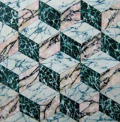 Marbre, géométrique, rose, vert, blanc