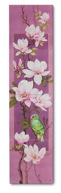 """Wall painting """"Magnolia spray with parrot"""", H 120 cm 