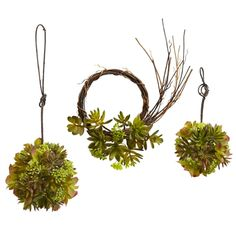 "Mixed Succulent Wreath & Spheres (Set of 3.)  For those who can't decide what ""type"" of succulent to get, why not get them all? This mixed set includes two succulent spheres one 5"" and the other 7""), and a succulent wreath as well which measures 9""). This means you can have a cornucopia of ""succulent"" decor, for as long as you wish (since these are faux, they never dry out.) Makes an ideal kitchen / dining room piece, and also makes a great gift. #silkplants"