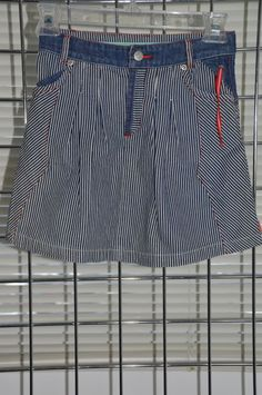 OILILY Girls Blue Denim Stripped Skirt Size 5/6 100% Cotton On Sale DB #Oilily #Everyday