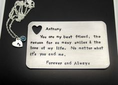 Hand Stamped Insert Card with Heart Necklace by MetalandIdea