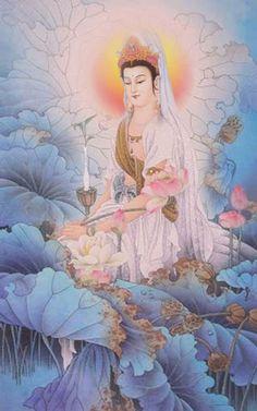Kuan Yin Lotus Painting, Chinese Buddhism, Vision Art, Buddha Art, Guanyin, Japanese Painting, Chinese Art, Drawings, Illustration