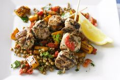 Lemon and garlic chicken skewers with lentil salad a few tweaks needed to reduce the chemicals, e.g. no basis or dried tomato