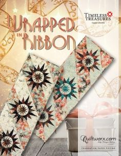 """Wrapped in Ribbon Table Runner - Available from Quiltworx.com - A Judy Niemeyer Quilting Company. Shop for more patterns and quilting supplies on store.quiltworx.com. This pattern makes a 17"""" x 51"""" quilt, the pattern cost is $21.50."""