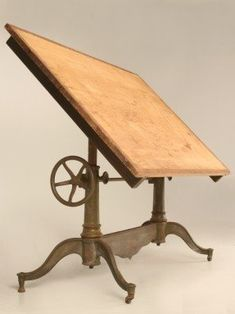 Antique American drafting or drawing table by Columbia. Such a beautiful work table! Industrial Chic, Industrial Furniture, Antique Furniture, Antique Drafting Table, Drafting Tables, Floor Design, House Design, Deco Originale, Vintage Tools