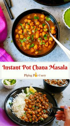 This is the most authentic Chana Masala (Chole) made in the Instant Pot. Oh..so delicious! #chole #chana #chickpeas #curry #indian #punjabi #instantpot #pressurecooker #vegan #vegetarian #glutenfree | pipingpotcurry.com