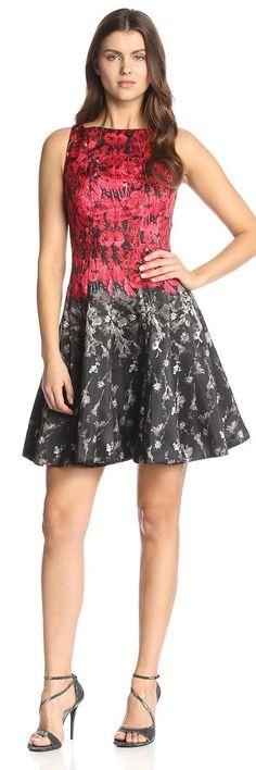Julian Taylor Women's Printed Shantung A-Line Dress