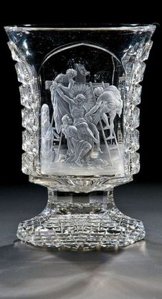 Beaker with the Deposition from the Cross Dominik Biemann (signed), Franzensbad or Prague, glass Glasswork of Count Harrach, circa 1829
