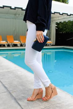White jeans + scalloped wedges.