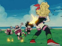 Launch shooting at Krillin, Master roshi,a nd Goku.