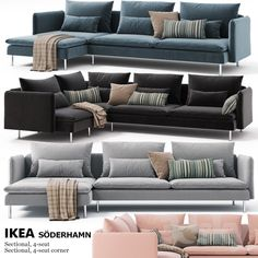 Corner Sofa - Obtain The Furniture You Desire With These Tips Ikea Sofa Set, Ikea Corner Sofa, Ikea Couch, Söderhamn Sofa, Sofa Furniture, Living Room Furniture, Divan Lit Ikea, Sala Ikea, Interior Design Living Room