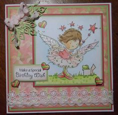 stamp from Kanban clear set, coloured with Copics, paper from Nitwits, die cut leaves by Marianne Design